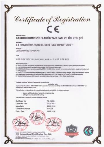 CE lighted flowerpot certificate of conformity to european standards