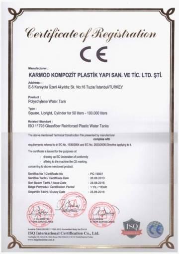 CE polyethylene conformity certificate to european standards