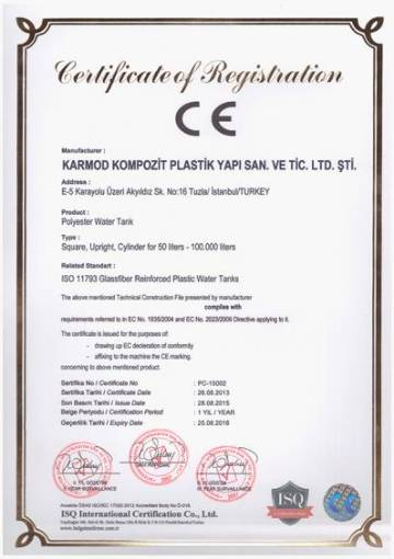 CE Certificate of conformity to polyester european standards