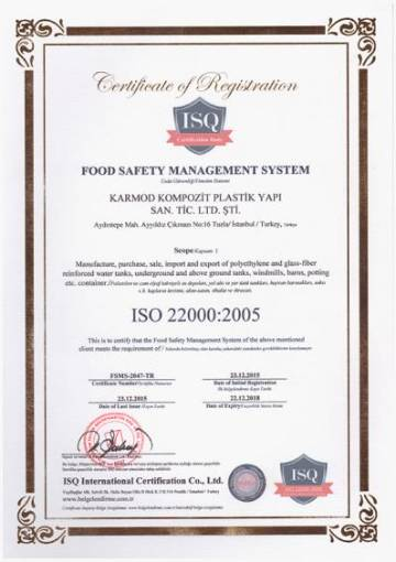 ISO 22000 2005 Quality Certificate