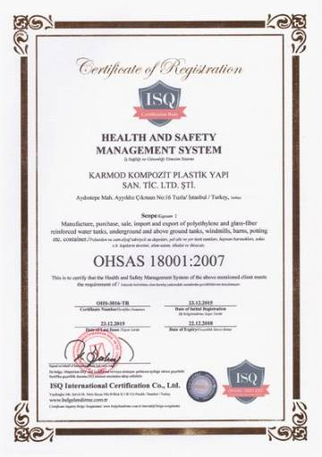OHSAS 18001 2007 Quality Certificate