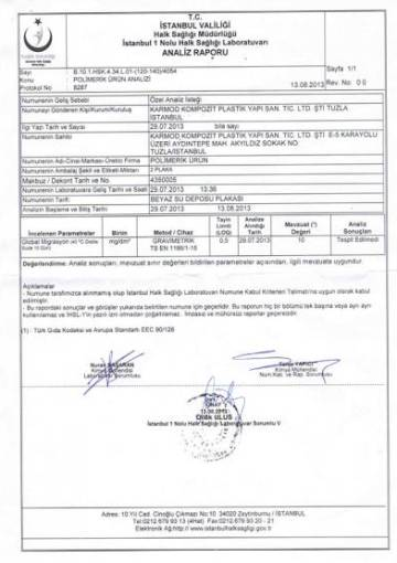 Ministry of Health Drinkability Report Polyethylene White Warehouse