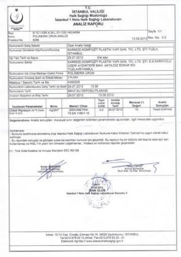 Ministry of Health Drinkability Report Polyethylene Blue Warehouse